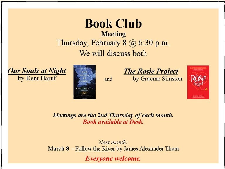 February Book Club flier